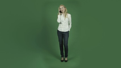 caucasian woman isolated on chroma green screen background happy
