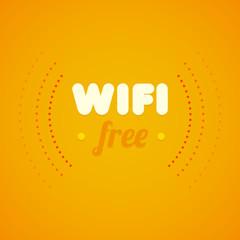 Free wifi symbol with orange background