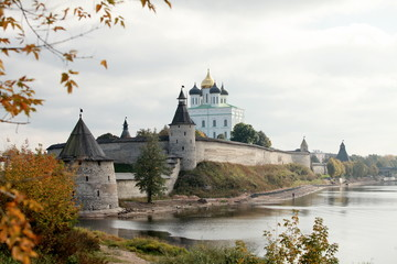 View of the Pskov Kremlin and river in autumn