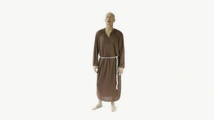 Senior caucasian monk isolated on white interview talking