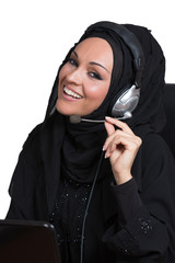 Arabic business woman, working as a customer service