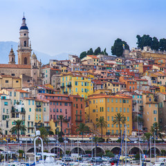 Menton , France. View of the city and waterfront from the sea