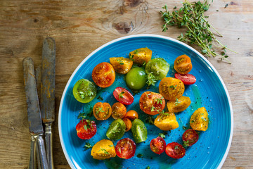 Colourful tomato salad