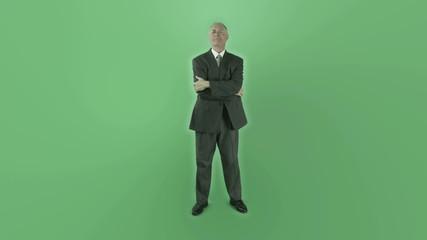 Senior caucasian businessman isolated on chroma green screen