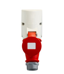 High voltage power plug on white background