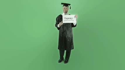 Senior caucasian graduate man isolated on chroma green screen