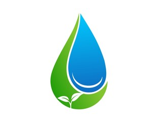 Logo symbol icon water drop and plants life vectors