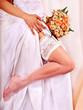 Garter at leg of bride.