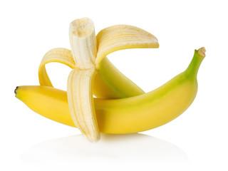 Peeled banana on white background