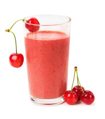 glass of fresh juice with berries cherry on a white background