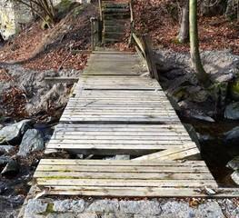 Alte brüchige Waldbrücke