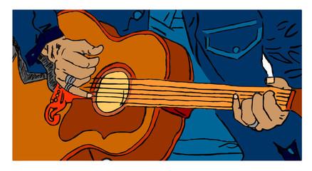 chitarrista a colori