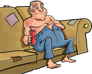 Cartoon man sitting on a couch with a beer