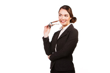 Young smiling business woman with glasses
