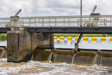 Barrage in Dutch river Vecht