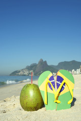 Brazilian Flag Flip Flops and Coconut Ipanema Beach Rio Brazil