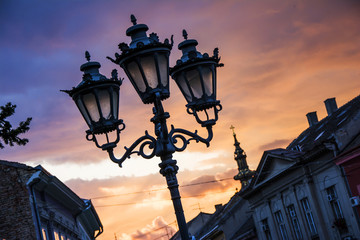 Street lanterns at dawn