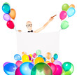 businessman with banner, balloons and cigar