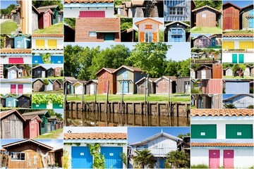 collage de maisons typique de pêcheurs du bassin d'arcachon
