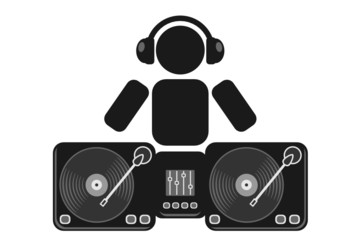 abstract dj with turntables
