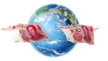 YUAN Banknotes Around Earth on White (Loop)