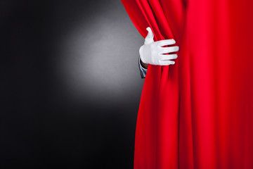 Magician Opening Red Stage Curtain