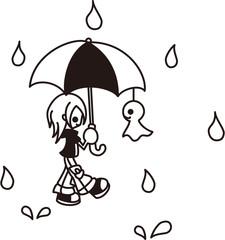 雨の中をてるてる坊主と一緒に歩いている少年