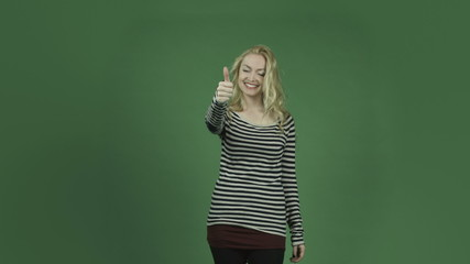 caucasian woman isolated on chroma green screen background
