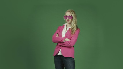 caucasian woman pink jacket isolated on chroma green screen