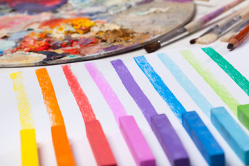 Art materials and colored lines
