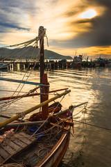 Fisherman ship and boat in harbor