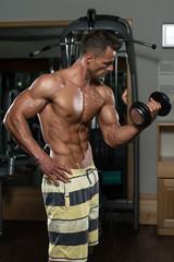 Bodybuilder Exercising Biceps With Dumbbells
