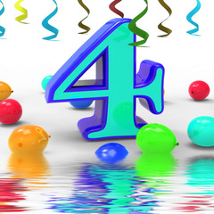 Number Four Party Displays Colourful Birthday Party Or Celebrati