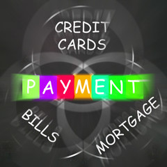Consumer Words Displays Payment of Bills Mortgage and Credit Car