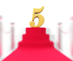 Golden Five On Red Carpet Displays Movie Industry Awards Or Priz