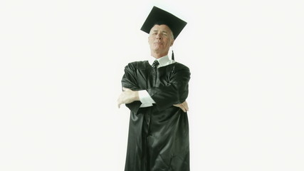 Senior caucasian graduate man isolated on white thumbs up