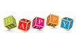 Word HAPPY written with alphabet blocks