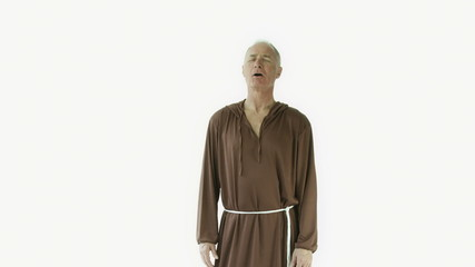 Senior caucasian monk isolated on white interview talking