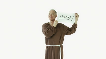 Senior caucasian monk isolated on white grateful thanks sign