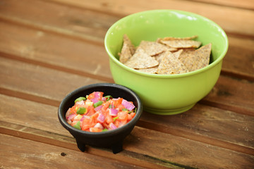 tortilla chips and pico de gallo
