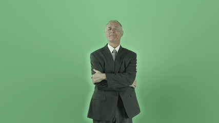Senior caucasian businessman isolated on chroma green screen