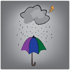vector umbrella and weather rain drops