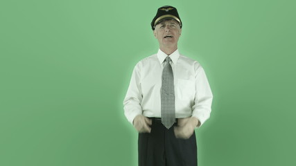Senior caucasian airplane pilot isolated on green screen
