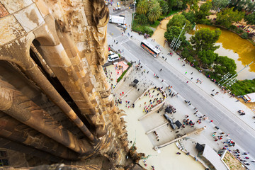 Top view from  Sagrada Familia in Barcelona