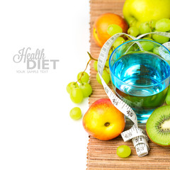 Water and healthy fruits for diet concept