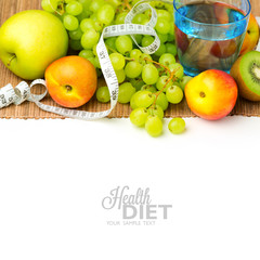Diet concept. Water and fruits over white background