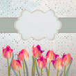 Vintage tulips postcard with flowers. EPS 10