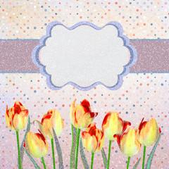 Vintage tulips card with polka dot. EPS 10