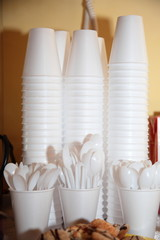 Disposable plastic utensils cups and spoons