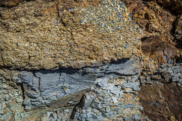 Surface of the rock. Selective focus.